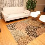 New-City-Brand-New-Contemporary-Brown-and-Beige-Modern-Floral-Flowers-Area-Rug-0-0