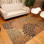 New-City-Brand-New-Contemporary-Brown-and-Beige-Modern-Floral-Flowers-Area-Rug-0-1