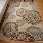 New-City-Contemporary-Brown-Beige-Modern-Flowers-Circles-Wool-Area-Rug-4030-0-0