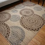 New-City-Contemporary-Brown-Beige-Modern-Flowers-Circles-Wool-Area-Rug-4030-0