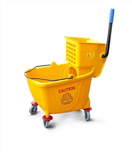 New-Star-1-PC-Commercial-Quality-Extra-Large-Side-Press-Mop-Bucket-with-Wringer-36-Quart9-Gallon-Capacity-Yellow-0