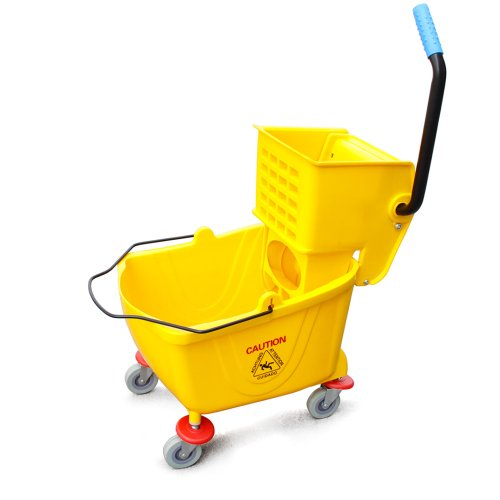 New-Star-Commercial-Quality-Side-Press-Mop-Bucket-with-Wringer-26-Quart-65-Gallon-Capacity-Yellow-0