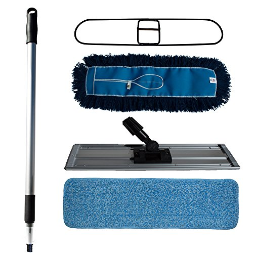 Nine-Forty-Hardwood-Floor-Cleaner-w-Dust-Mop-Broom-Kit-includes-Microfiber-Wet-Mop-Pad-Frame-Premium-Nylon-Dust-Mop-Head-Frame-Telescoping-Handle-w-Threaded-Tip-Dust-Mop-Adapter-24-Inch-0
