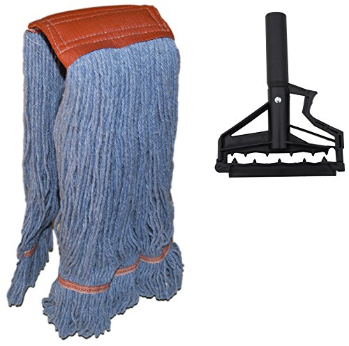 Nine-Forty-Industrial-Strength-Premium-Looped-End-Wet-Mop-Head-for-Floor-Cleaning-Large-24-Ounce-with-Aluminum-Extension-Handle-and-Flip-Grip-Clamp-0-0