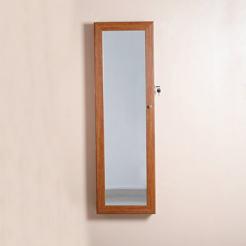 Organizedlife-Oak-Mirrored-Jewelry-Cabinet-Case-with-Lock-WallDoor-Mount-0-0