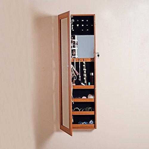 Organizedlife-Oak-Mirrored-Jewelry-Cabinet-Case-with-Lock-WallDoor-Mount-0-1