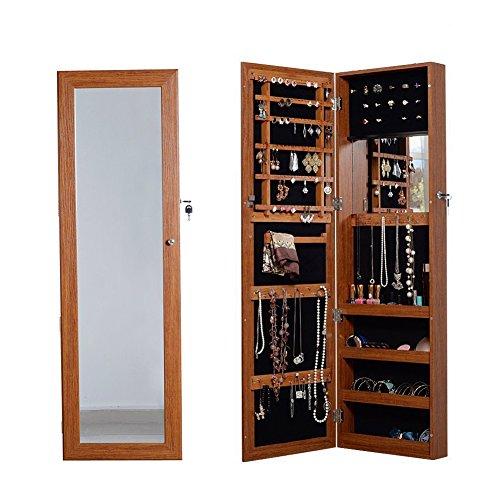 Organizedlife-Oak-Mirrored-Jewelry-Cabinet-Case-with-Lock-WallDoor-Mount-0