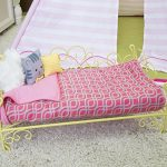 Our-Generation-Heart-Scroll-Bed-Includes-Bed-Mattress-Mattress-Cover-1-Pillow-and-2-Throw-Pillows-Fits-All-18-Inch-Dolls-Yellow-and-Pink-0-1