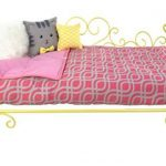 Our-Generation-Heart-Scroll-Bed-Includes-Bed-Mattress-Mattress-Cover-1-Pillow-and-2-Throw-Pillows-Fits-All-18-Inch-Dolls-Yellow-and-Pink-0
