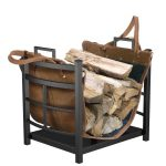 Panacea-Products-15245-Mission-Log-Bin-with-Leather-Carrier-for-Fireplace-0