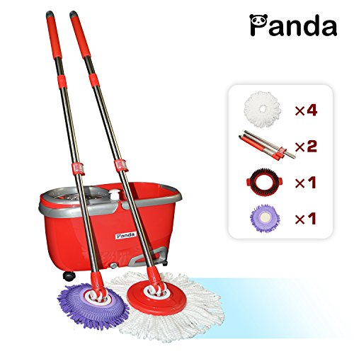 Panda-Stainless-Steel-Deluxe-Wringing-Basket-High-Speed-Spin-Mop-and-Bucket-System-0