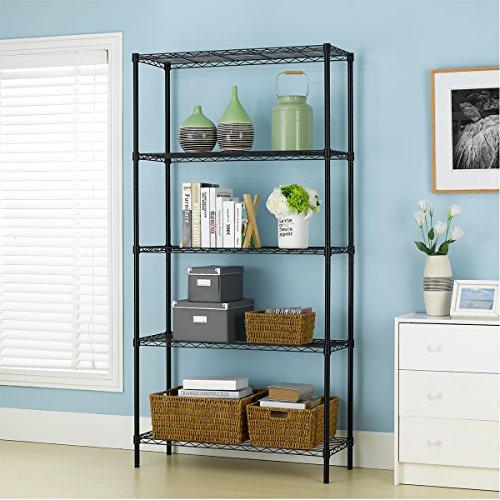 PayLessHere-Black-5-Shelf-Adjustable-Steel-Shelving-Systems-Wire-Shelves-Garage-Shelving-Storage-Racks-0-0