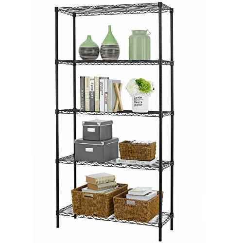 PayLessHere-Black-5-Shelf-Adjustable-Steel-Shelving-Systems-Wire-Shelves-Garage-Shelving-Storage-Racks-0-1