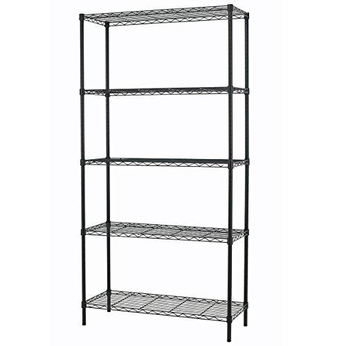 PayLessHere-Black-5-Shelf-Adjustable-Steel-Shelving-Systems-Wire-Shelves-Garage-Shelving-Storage-Racks-0