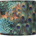 Peacock-Print-Drum-Lamp-Shade-14x16x11-Spider-0