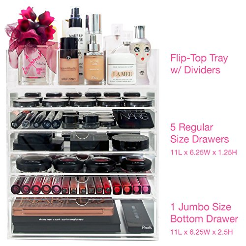 Posh-Ultimate-Acrylic-Makeup-Organizer-7-Tier-6-Large-Drawers-Flip-Top-Tray-w-Removable-Dividers-Premium-Clear-Cube-Box-Case-for-Cosmetic-Beauty-Storage-0-1