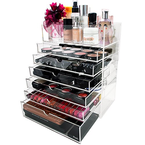 Posh-Ultimate-Acrylic-Makeup-Organizer-7-Tier-6-Large-Drawers-Flip-Top-Tray-w-Removable-Dividers-Premium-Clear-Cube-Box-Case-for-Cosmetic-Beauty-Storage-0