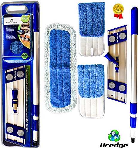 Professional-Microfiber-mop-for-hardwood-tile-laminate-stone-floors-DREDGE-Best-all-in-1-kit-Dry-wet-cleaning-3-advanced-drag-resistant-padsrevolutionize-your-mopping-experience-0