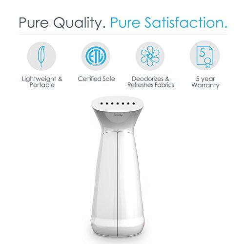 PureSteam-Deluxe-Handheld-Garment-Steamer-Powerful-Portable-Fabric-Steamer-Dewrinkles-Clothing-Linens-Curtains-160ml-Tank-for-10-Minutes-of-Continuous-Steam-Ideal-for-Home-Travel-0-1