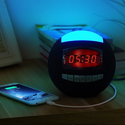 Raynic-Dual-Alarm-Clock-RadioWireless-Bluetooth-Speaker-w-USB-Charging-Port-Multi-Color-LED-Night-Light-Snooze-Hands-Free-CallingAll-In-One-FM-Radio-Clock-Batteries-Included-0-0
