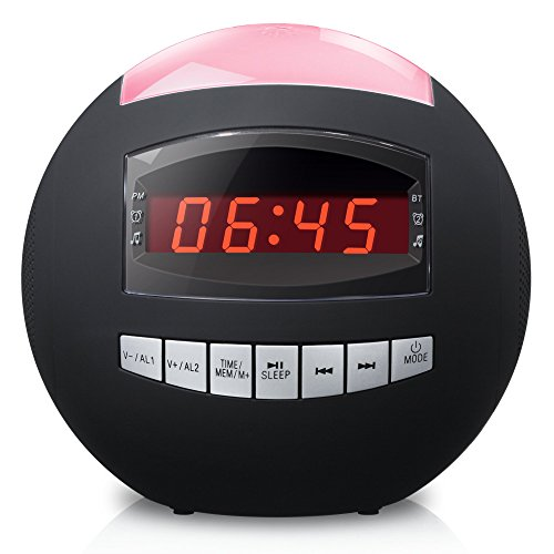 Raynic-Dual-Alarm-Clock-RadioWireless-Bluetooth-Speaker-w-USB-Charging-Port-Multi-Color-LED-Night-Light-Snooze-Hands-Free-CallingAll-In-One-FM-Radio-Clock-Batteries-Included-0