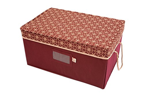 Red-and-Gold-3-Tray-Ornament-Storage-Box-with-Dividers-and-snowflake-pattern-Store-up-to-72-3-inch-Ornaments-0-0