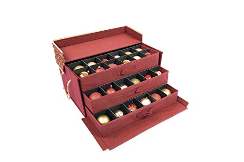Red-and-Gold-3-Tray-Ornament-Storage-Box-with-Dividers-and-snowflake-pattern-Store-up-to-72-3-inch-Ornaments-0-1