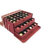Red-and-Gold-3-Tray-Ornament-Storage-Box-with-Dividers-and-snowflake-pattern-Store-up-to-72-3-inch-Ornaments-0
