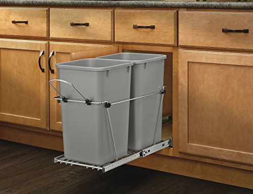 Rev-A-Shelf-RV-15KD-17C-S-Double-27-Qt-Pull-Out-Silver-and-Chrome-Waste-Container-0