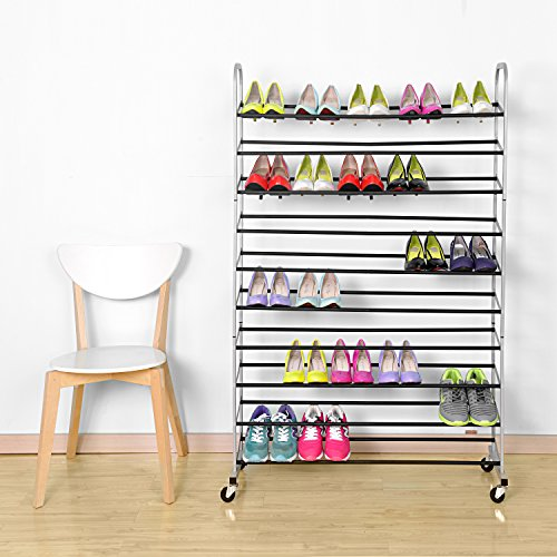 Rolling-Shoe-Rack-MaidMAX-10-Tiers-Free-Standing-50-Pairs-Shoe-Tower-Storage-Organizer-with-Sturdy-Rolling-Wheels-for-Christmas-Gift-0-0