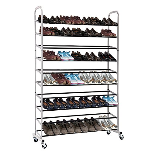 Rolling-Shoe-Rack-MaidMAX-10-Tiers-Free-Standing-50-Pairs-Shoe-Tower-Storage-Organizer-with-Sturdy-Rolling-Wheels-for-Christmas-Gift-0