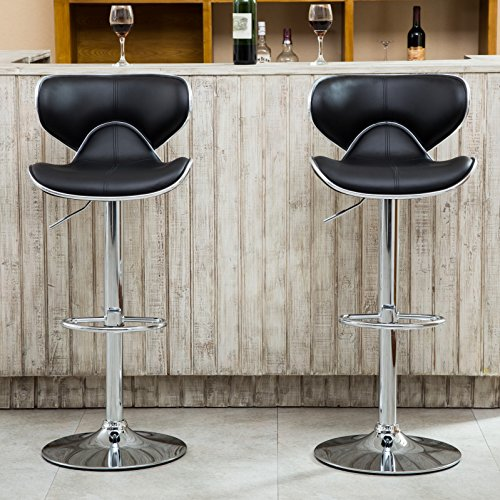 Roundhill-Furniture-Masaccio-Cushioned-Leatherette-Upholstery-Airlift-Adjustable-Swivel-Barstool-with-Chrome-Base-0-0