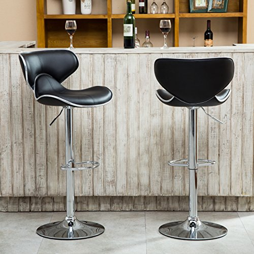 Roundhill-Furniture-Masaccio-Cushioned-Leatherette-Upholstery-Airlift-Adjustable-Swivel-Barstool-with-Chrome-Base-0