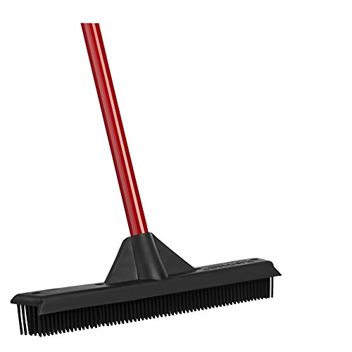 Rubber-Broom-by-Ravmag-Built-in-Squeegee-Edge-Soft-Scratch-free-Bristles-Perfect-for-Pet-Hair-Great-for-cleaning-hardwood-vinyl-carpet-cement-tile-windows-Water-Resistant-0