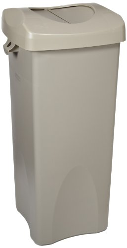 Rubbermaid-Commercial-FG792020BEIG-23-Gallon-Untouchable-Trash-Can-with-Swing-Lid-Combo-Rectangular-Beige-0