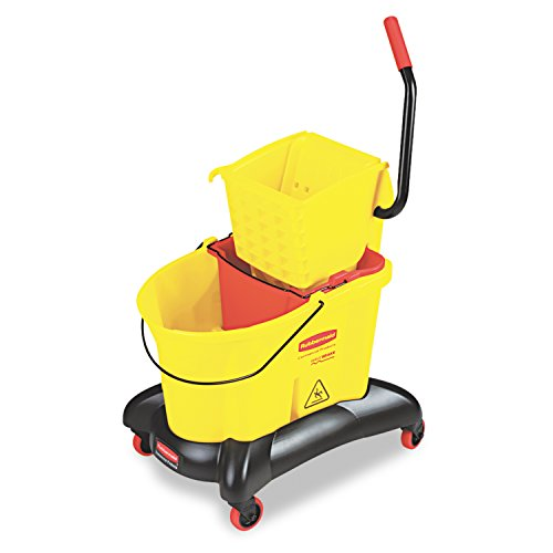 Rubbermaid-Commercial-WaveBrake-Dual-Water-Mop-Bucket-and-Side-Press-Wringer-Combo-35-Quart-Yellow-FG768000YEL-0
