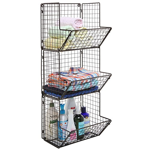 Rustic-Brown-Metal-Wire-3-Tier-Wall-Mounted-Kitchen-Fruit-Produce-Bin-Rack-Bathroom-Towel-Baskets-0-0