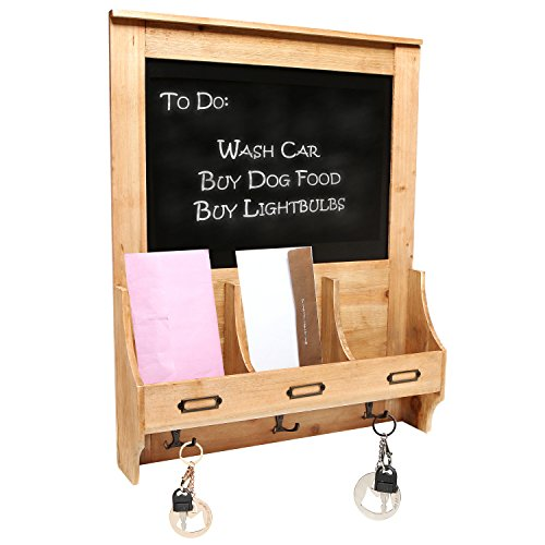 Rustic-Wood-Wall-Mounted-Mail-Sorter-Key-Hook-Organizer-Rack-w-Memo-Bulletin-Chalkboard-Sign-MyGift-0