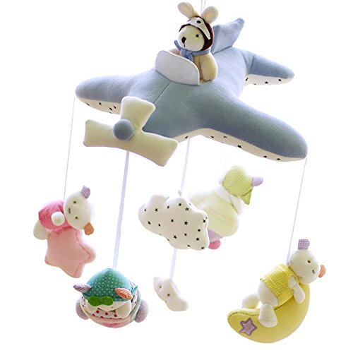 SHILOH-Deluxe-Baby-Plush-Crib-Mobile-with-60-songs-Musical-Box-and-Arm-Blue-Plane-0