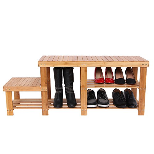 SONGMICS-2-tier-Shoe-Bench-Boot-Organizing-Rack-Entryway-Storage-Shelf-w-High-and-Low-Levels-for-Adult-and-Child-100-Bamboo-ULBS120N-0-0