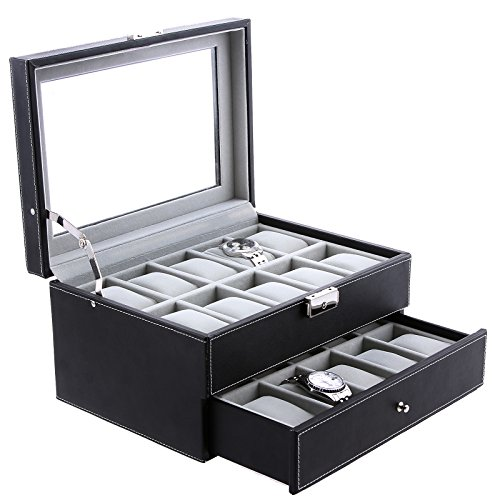 SONGMICS-20-Mens-Watch-Box-Black-Leather-Display-Glass-Top-Jewelry-Case-Organizer-Lockable-UJWB006-0-0