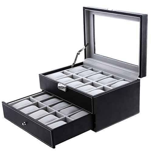 SONGMICS-20-Mens-Watch-Box-Black-Leather-Display-Glass-Top-Jewelry-Case-Organizer-Lockable-UJWB006-0
