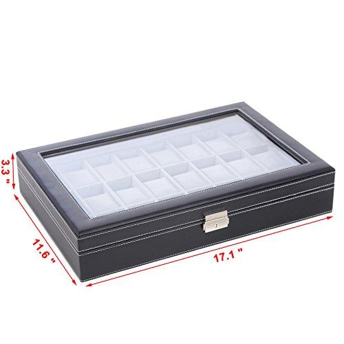 SONGMICS-24-Mens-Watch-Box-Large-Black-Leather-Watch-Case-Glass-Top-Jewelry-Display-Organizer-UJWB024-0-1