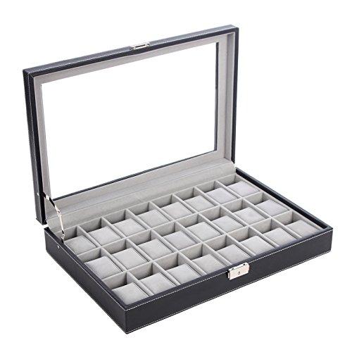 SONGMICS-24-Mens-Watch-Box-Large-Black-Leather-Watch-Case-Glass-Top-Jewelry-Display-Organizer-UJWB024-0