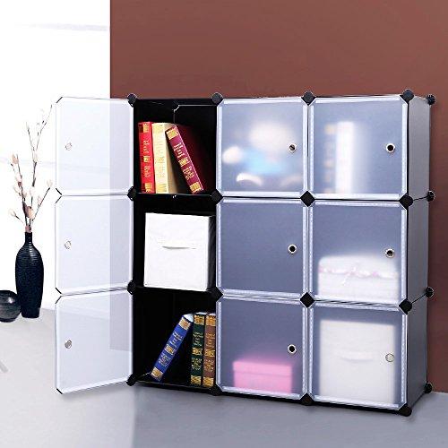 SONGMICS-3-Tier-DIY-Storage-Cube-Organizer-Closet-9-Cube-Bookcase-Cabinet-with-Door-ULPC33H-0-0