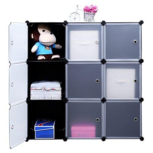 SONGMICS-3-Tier-DIY-Storage-Cube-Organizer-Closet-9-Cube-Bookcase-Cabinet-with-Door-ULPC33H-0-1