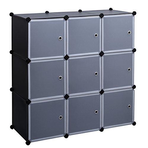 SONGMICS-3-Tier-DIY-Storage-Cube-Organizer-Closet-9-Cube-Bookcase-Cabinet-with-Door-ULPC33H-0