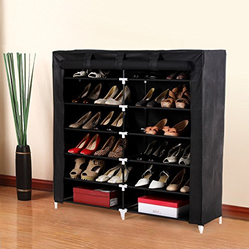 SONGMICS-7-Tiers-Portable-Shoe-Rack-Closet-with-Fabric-Cover-Shoe-Storage-Organizer-Cabinet-Black-URXJ12H-0-0