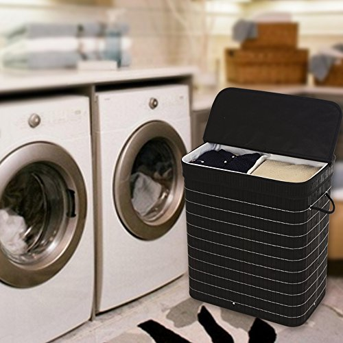 SONGMICS-Bamboo-Laundry-Basket-Double-Clothes-Hampers-with-Lid-Compartment-Hamper-Rectangular-Black-ULCB64H-0-0