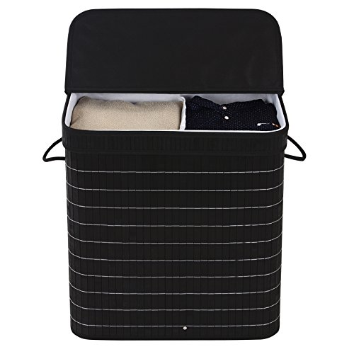 SONGMICS-Bamboo-Laundry-Basket-Double-Clothes-Hampers-with-Lid-Compartment-Hamper-Rectangular-Black-ULCB64H-0-1